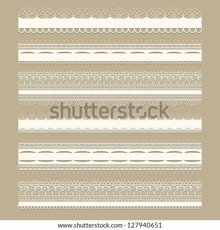 Vector lacy vintage design elements, lacy seamless brushes included, shadows at the separate layer, fully editable eps 8 file - stock vector