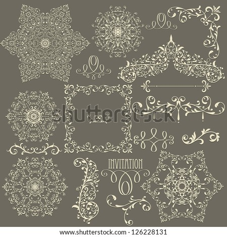 vector lacy  vintage floral  design elements,  fully editable eps 8 file - stock vector