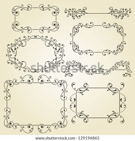 vector lacy  vintage floral  design elements on gradient background, fully editable eps 8 file - stock vector