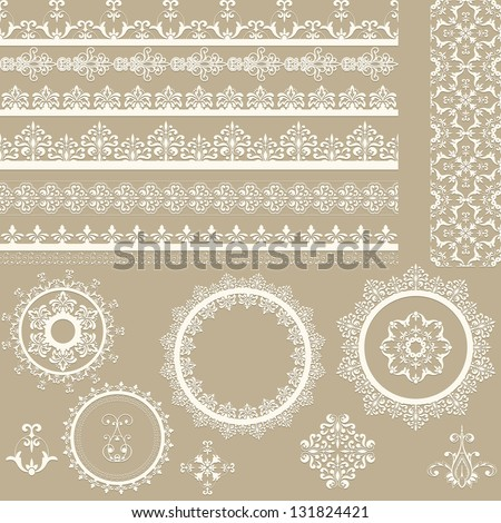 Vector lacy vintage ribbons, napkins, and design elements, lacy seamless brushes included, shadows at the separate layer, fully editable eps 8 file - stock vector