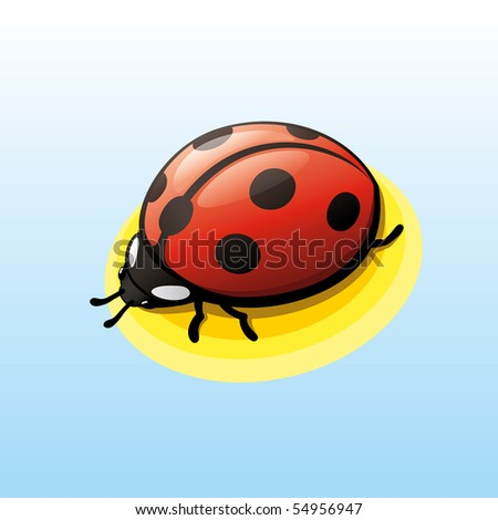 "Vector Lady-bug. ""Full compatible. Created with linear gradients. Named in layers."""