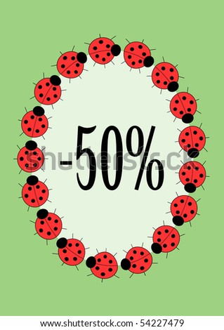 vector ladybirds frame or discount label for your design - stock vector