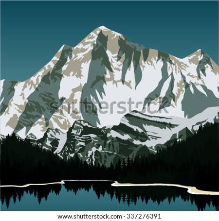 Vector lake in mountains - stock vector