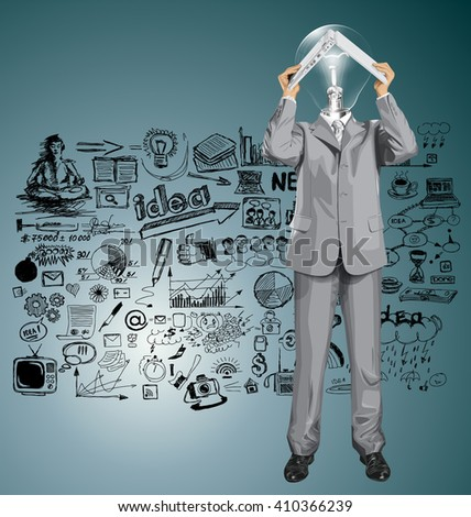 Vector lamp head business man hides under the laptop in his hands - stock vector