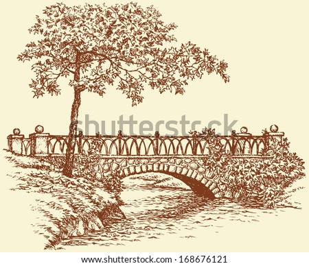 Vector landscape. A maple near the ancient stone bridge over a small river in the park - stock vector