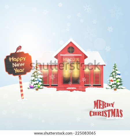 Vector Landscape and Christmas Hotel, Cottage, House Background, Banner or Card Illustration - stock vector