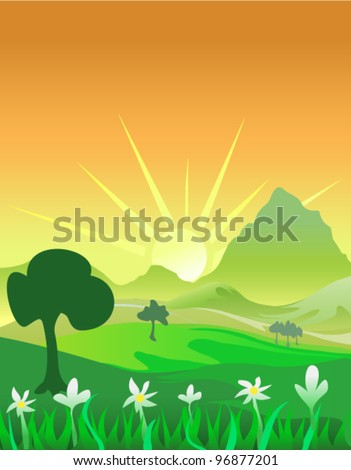 vector landscape at dusk morning - stock vector