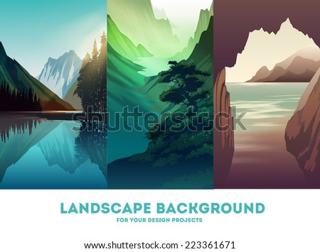 Vector landscape background - stock vector