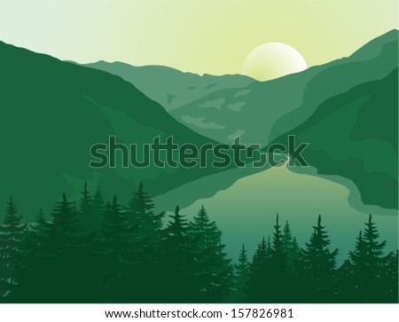 Vector landscape. Beautiful sunrise in a mountain river canyon. - stock vector