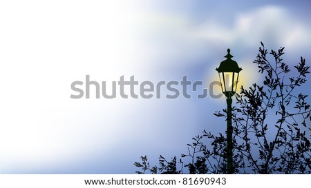 Vector landscape. Glowing lantern near the branches of spring tree