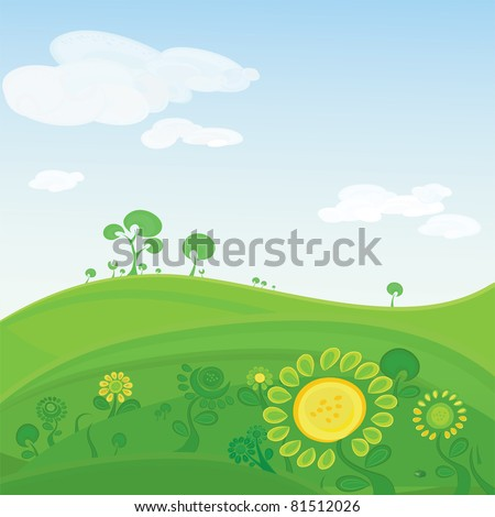Vector landscape. Green valley with colorful  flowers and distant hills and trees