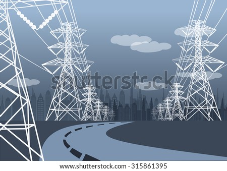 Vector landscape high voltage pole and road to city - stock vector