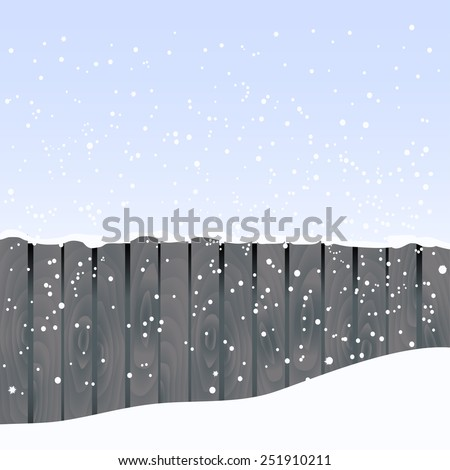 Vector  landscape illustration with fence and snowflakes - stock vector
