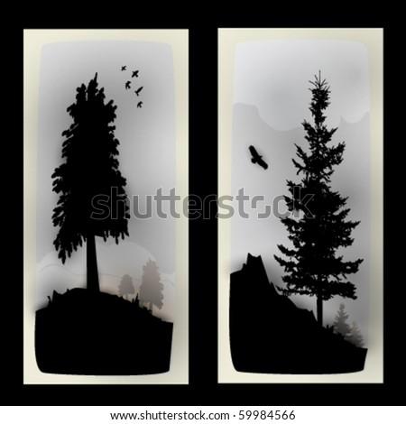 vector landscape illustrations - stock vector