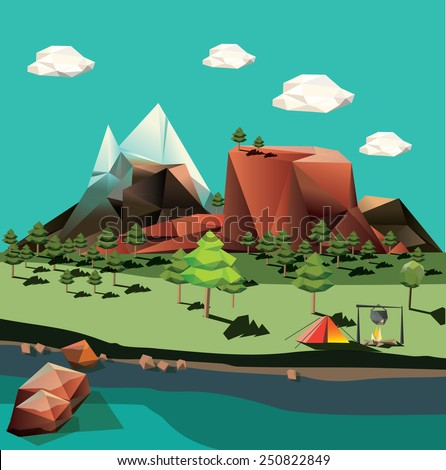 Vector landscape in low-polygonal style - stock vector
