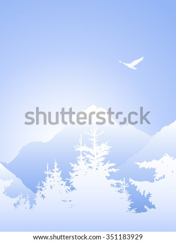 Vector landscape. Silhouette of mountains and coniferous trees. Evening. Blue shades. Winter. Cold.