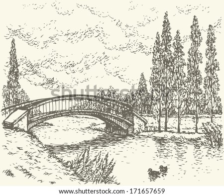 Vector landscape. Sketch of a quiet corner of the park with a bridge over river and poplars along the road  - stock vector