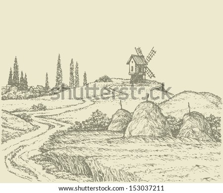 Vector landscape. The road to the old windmill on a hill surrounded by fields of wheat with haystacks - stock vector