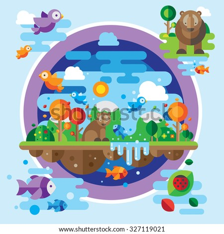Vector landscape with a variety of animals and natural elements
