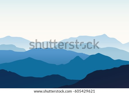 Mountain range vector stock images royalty free images vectors vector landscape with blue silhouettes of hills and mountains with light blue sky sciox Gallery