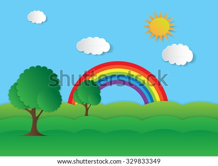 Vector landscape with clouds rainbow and trees