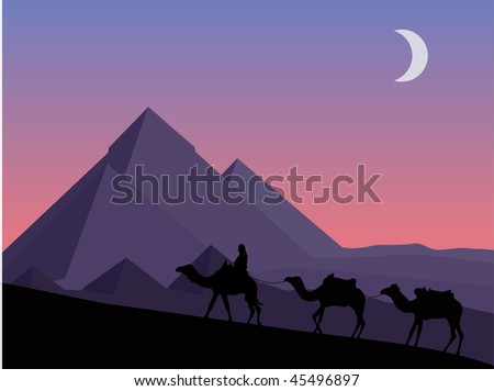 vector  landscape with pyramids and camels - stock vector