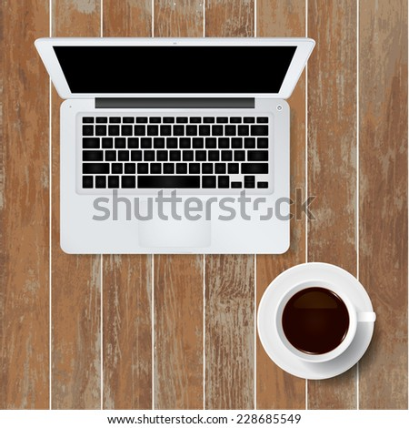 Vector laptop computer and cup of coffee on wooden texture background. - stock vector