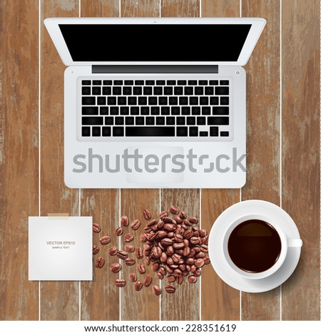 Vector laptop computer with coffee cup and coffee beans on wooden texture background. - stock vector