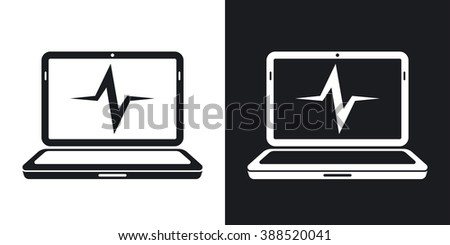 Vector laptop diagnostics icon. Two-tone version on black and white background - stock vector