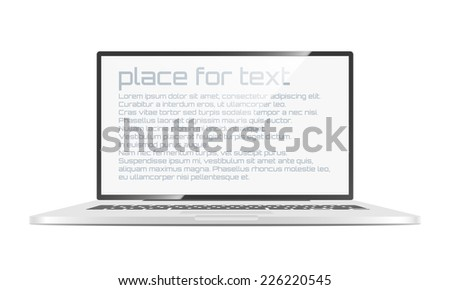 Vector Laptop isolated on white background. - stock vector