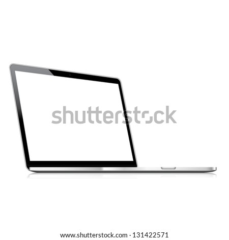 Vector laptop isolated on white with empty screen - stock vector