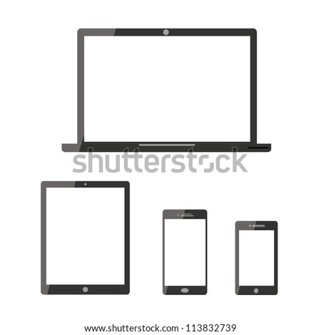vector laptop mobile phone and digital tablet pc computer - stock vector