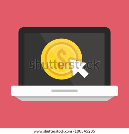 Vector Laptop Pay per Click Icon - stock vector