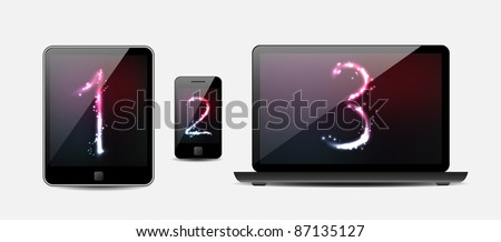 Vector Laptop, tablet computer and mobile phone - stock vector