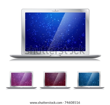 Vector laptops icons with trendy backgrounds - stock vector