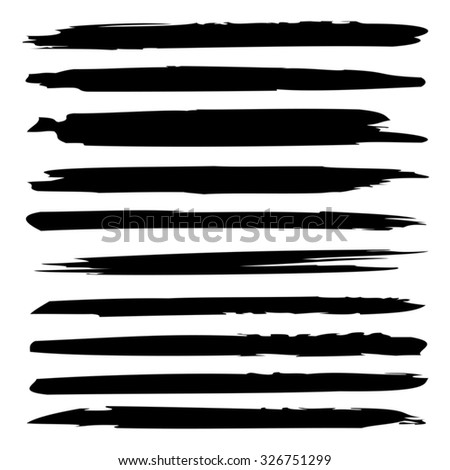 Vector large collection or set of artistic black paint hand made creative brush strokes isolated on white background, metaphor to art, grunge or grungy, graffiti, sketch, education or abstract design - stock vector