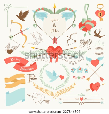 Vector large creative set of Valentines day flat design elements | Vintage styled romantic ornamental signs and laurels, arrows and bows, hearts and ribbons, birds and more, on bright background - stock vector