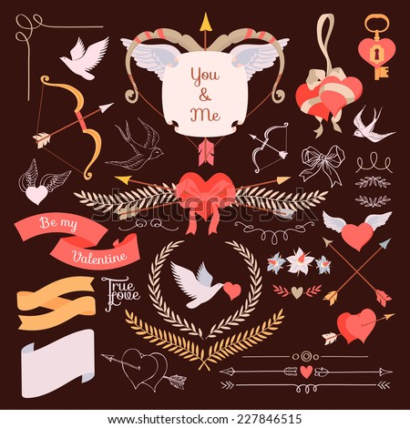 Vector large creative set of Valentines day flat design elements | Vintage styled romantic ornamental signs and laurels, arrows and bows, hearts and ribbons, birds and more, on dark background - stock vector