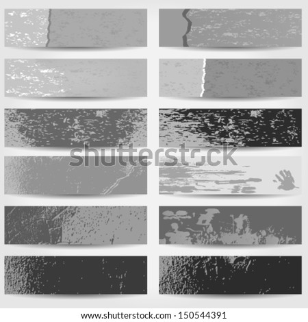 Vector large set of black and white old, grunge style web banners - stock vector