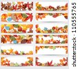 Vector large set of colorful, hand drawn style autumn leaves banners illustration - stock