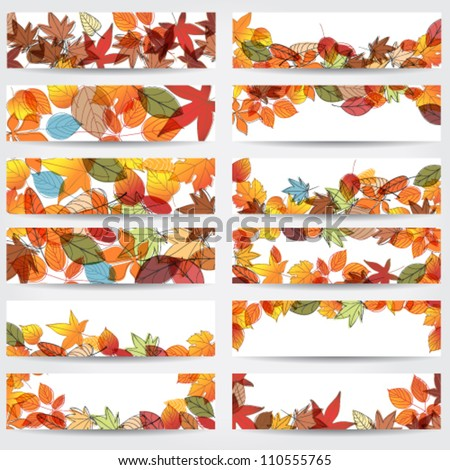 Vector large set of colorful, hand drawn style autumn leaves banners illustration - stock vector