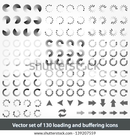 Vector large set of 130 loading and buffering icons - stock vector