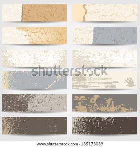 Vector large set of old, grunge style web banners - stock vector
