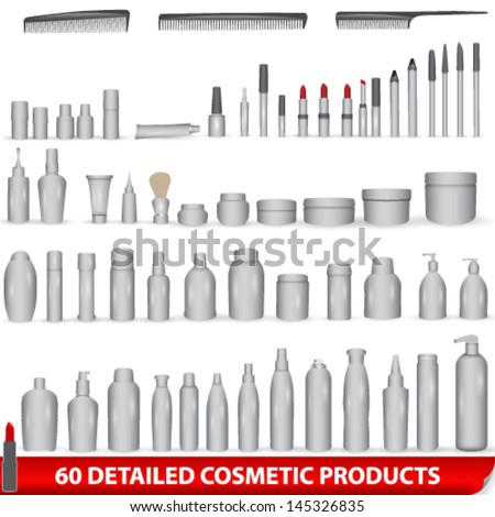 Vector large set of 60 very detailed white, blank different cosmetic products - bottles, lipsticks, combs, packages - stock vector