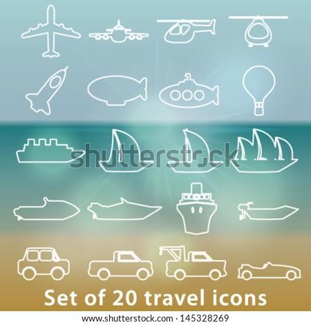 Vector large set of white modern transportation icons illustration - stock vector