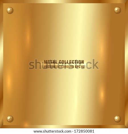 Vector large square golden plate with screws - stock vector