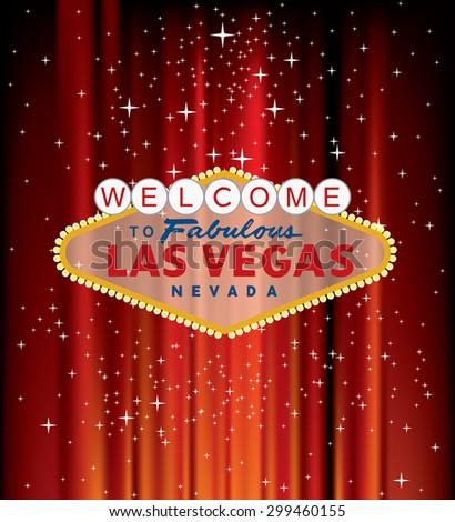 vector Las Vegas sign on red velvet with stars - stock vector