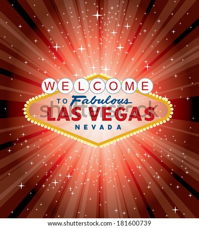vector Las Vegas sign over the red night star burst  - stock vector