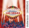 vector Las Vegas sign with roulette over the city and red grunge sky - stock vector