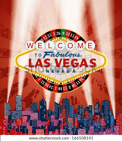 vector Las Vegas sign with roulette over the city and red grunge sky
